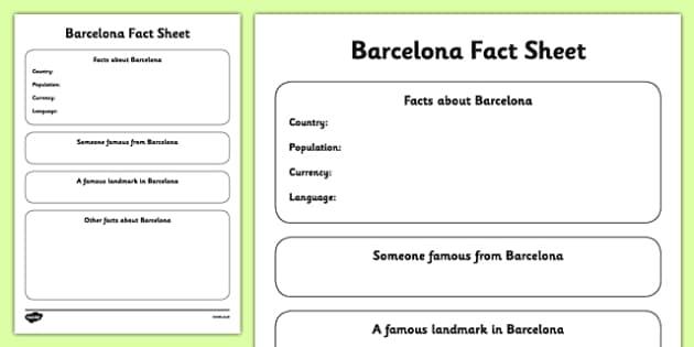Barcelona Fact Sheet Writing Template - barcelona, fact sheet, writing template, write, template