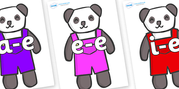 Modifying E Letters on Panda Bears - Modifying E, letters, modify, Phase 5, Phase five, alternative spellings for phonemes, DfES letters and Sounds