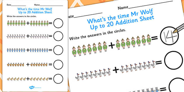 Up to 20 Addition Sheet to Support Teaching on What's The Time, Mr Wolf? - Worksheets