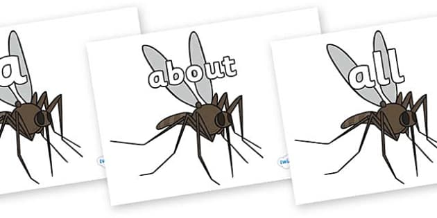 100 High Frequency Words on Mosquitos - High frequency words, hfw, DfES Letters and Sounds, Letters and Sounds, display words