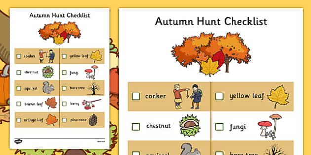 Autumn Hunt Checklist Autumn Hunt Checklist Autumn Hunt