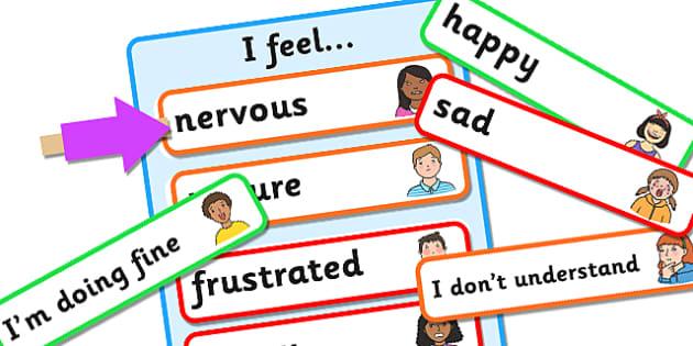 Changeable Emotions Meter - emotions meter, emotions self assessment, I feel poster, my emotions poster, changeable emotions poster, emotions chart, sen
