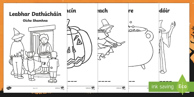 Oíche Shamhna Colouring Pages-Irish