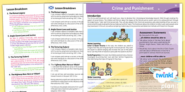 PlanIt - History LKS2 - Crime and Punishment Planning Overview CfE - CfE, planit, crime, punishment, Romans, Anglo Saxons, Tudors, Victorians