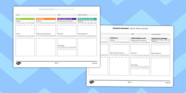 Summative Assessment Form for Specific Areas of Learning - assessment