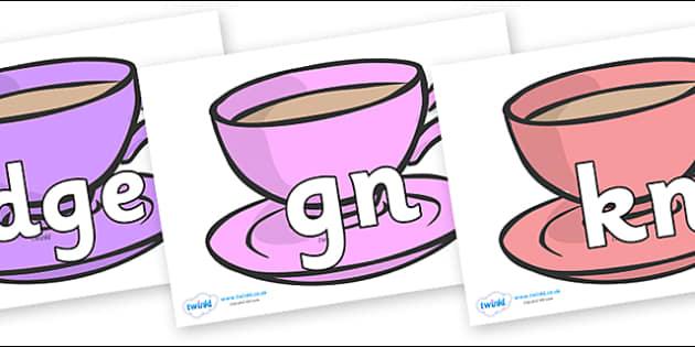 Silent Letters on Cups - Silent Letters, silent letter, letter blend, consonant, consonants, digraph, trigraph, A-Z letters, literacy, alphabet, letters, alternative sounds