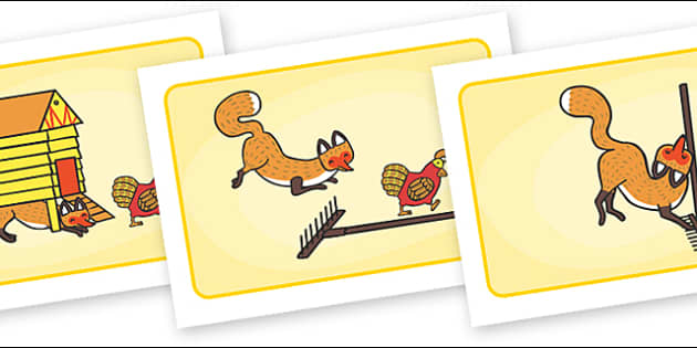 Visual Aids to Support Teaching on Rosie's Walk - Rosie's Walk, story, Pat Hutchins, book, resources, Rosie, fox, farm, story book, story resources, Rosie Walk