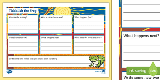 Tiddalick the Frog Book Review Writing Template-Australia