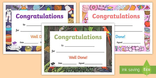 Well Done Congratulations Certificates - well done, congratulations, certificates