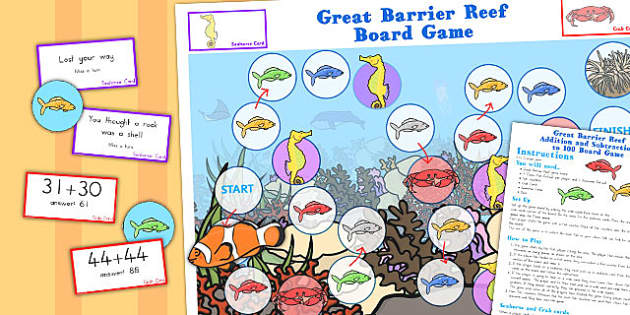 Great Barrier Reef Addition and Subtraction 100 Game - australia