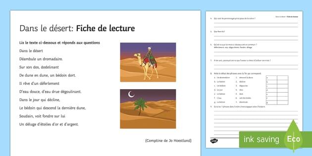 Dans le désert : Fiche de lecture - french, Literature, littérature, lecture, reading