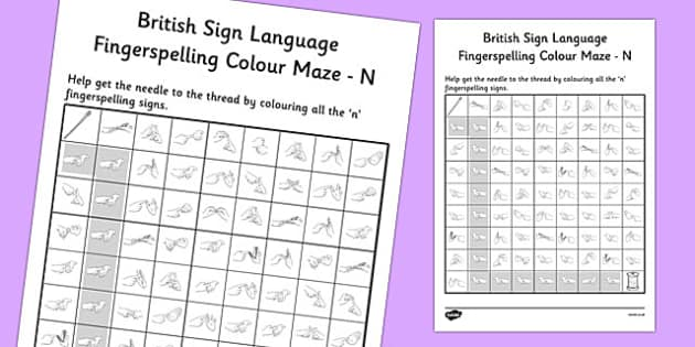 British Sign Language Fingerspelling Colour Maze N - colour, maze