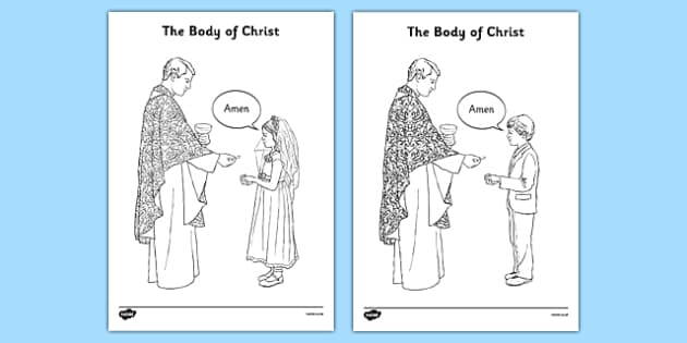 The Body of Christ Colouring Sheet - communion, religion, first holy communion, colouring sheet, activity, mass, eucharist