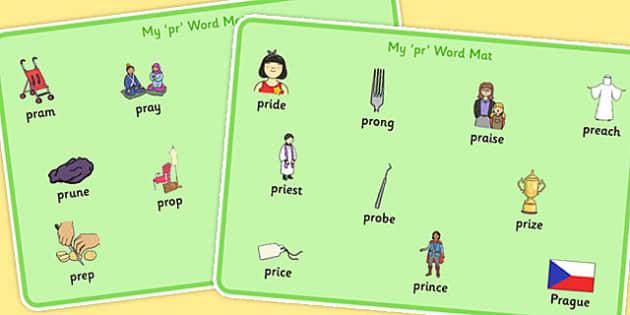 PR Sound Word Mats - sen, sound, pr sound, pr, word mats, sen