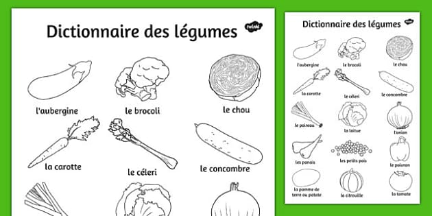 Dictionnaire de légumes French - french, vegetable, dictionary, colouring, sheets