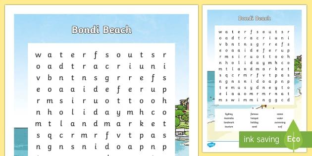 Bondi Beach Word Search-Australia - Sydney Australia, bondi beach, bondi, activity, fun, word search, find a word, vocabulary, spelling,