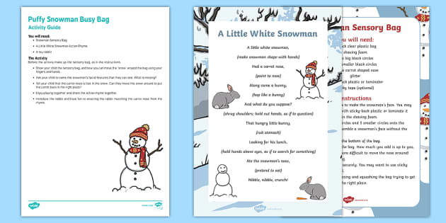 Puffy Snowman Busy Bag Resource Pack for Parents - The Snowman, Raymond Briggs, Christmas, winter, shaving foam, snow, sensory