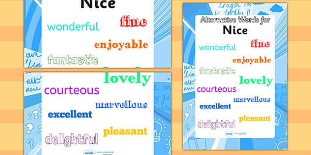 Alternative Words For Nice Display Poster (Large) - alternative words poster, alternative words for nice, synonym posters, powerful words, better words