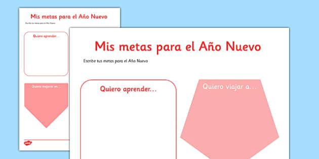 Mis metas para el Año Nuevo Spanish Activity Sheet - spanish, New Year's, resolutions, goals, metas, propósitos, escribir, Spanish, Español, dictionary, worksheet