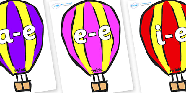 Modifying E Letters on Hot Air Balloons (Multicolour) - Modifying E, letters, modify, Phase 5, Phase five, alternative spellings for phonemes, DfES letters and Sounds