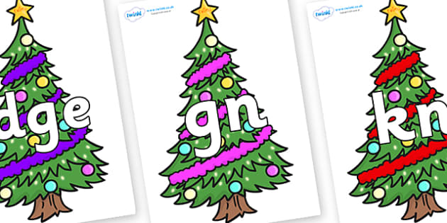 Silent Letters on Christmas Trees (Decorated) - Silent Letters, silent letter, letter blend, consonant, consonants, digraph, trigraph, A-Z letters, literacy, alphabet, letters, alternative sounds