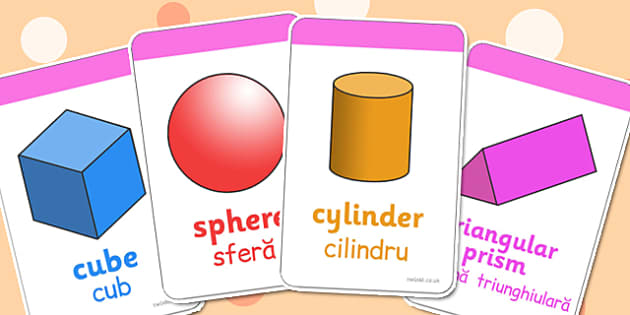 3D Shape Cards Romanian Translation - romanian, 3d shape, cards