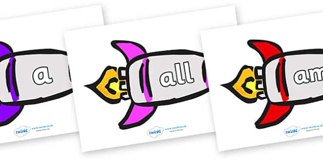 Foundation Stage 2 Keywords on Rockets (Multicolour) - FS2, CLL, keywords, Communication language and literacy,  Display, Key words, high frequency words, foundation stage literacy, DfES Letters and Sounds, Letters and Sounds, spelling