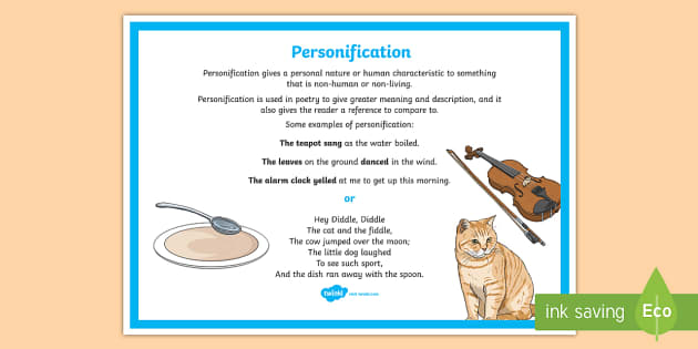 Personification Poetry Terms A4 Display Poster - imagery, poem, descriptive, definition, examples, vocabulary, techniques, genre