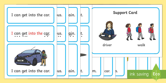 Travel and Transport Simple Sentence Cards - reading, sentences, eyfs, word cards, decoding, tricky words, sound button, phoneme, grapheme, phoni