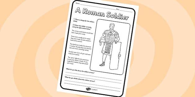 Roman Soldier Worksheet - roman soldier, romans, roman soldier, worksheet, roman worksheet, themed worksheet, history, history worksheet, soldiers