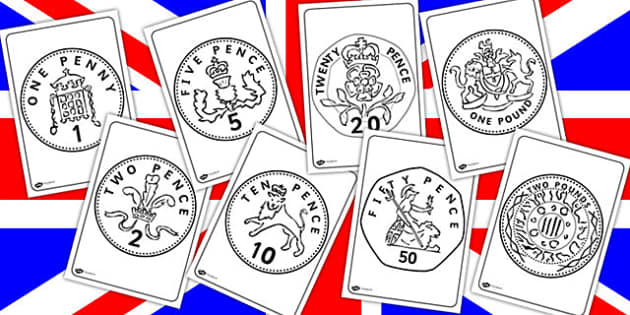 British (UK) Coins Colouring Sheets - british, colouring  money,