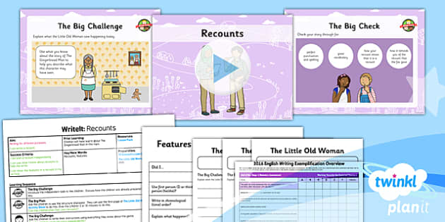 PlanIt Y2 The Gingerbread Man WriteIt Lesson Pack Recounts - traditional stories, traditional tales, assessment, test, big write