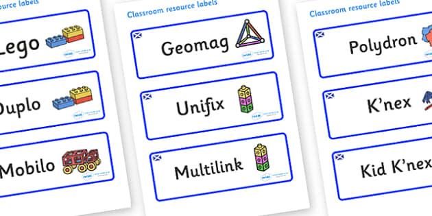 Scotland Themed Editable Construction Area Resource Labels - Themed Construction resource labels, Label template, Resource Label, Name Labels, Editable Labels, Drawer Labels, KS1 Labels, Foundation Labels, Foundation Stage Labels