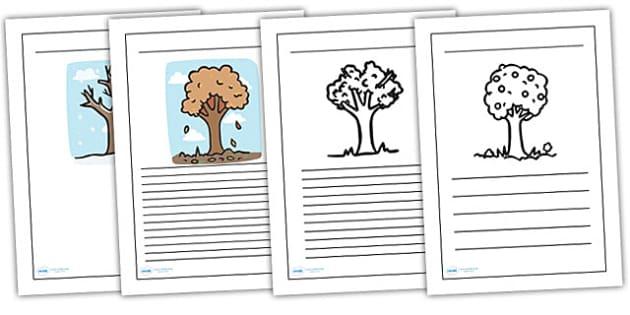 Four Seasons Writing Frames - seasons, weather, writing, literacy
