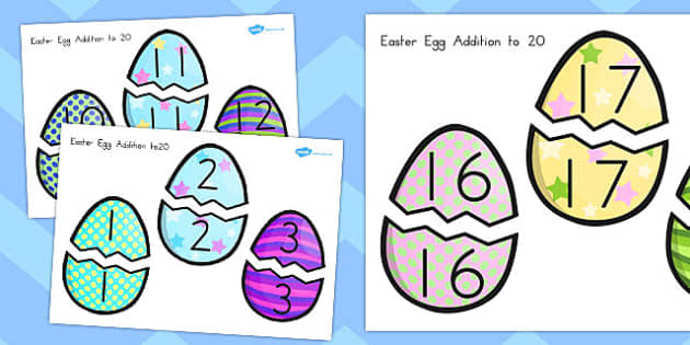 Easter Egg Addition Up to 20 Activity - australia, easter, egg