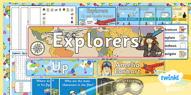 PlanIt Y2 Explorers Additional Resources - explorers, adventure, story, stories, Up, Amelia Earhart, display, wall