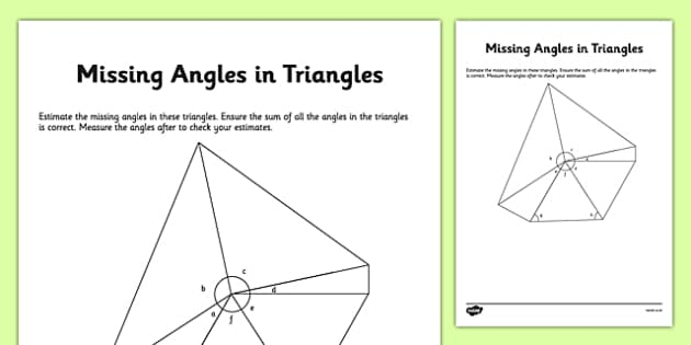 Calculating Missing Angles in Triangles - calculating, missing angles, triangles