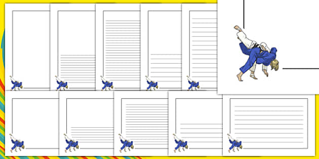 The Olympics Judo Page Borders - Judo, Olympics, Olympic Games, sports, Olympic, London, 2012, page border, border, writing template, writing aid, writing, activity, Olympic torch, events, flag, countries, medal, Olympic Rings, mascots, flame, compet