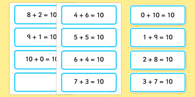 Number Bonds to Ten on word Cards - number bonds, word cards