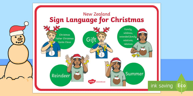 New Zealand Sign Language Christmas Display Poster