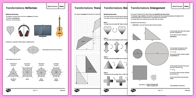 Maths Need To Knows Transformations - maths, KS 3, ks3, measure, transformation, enlargement, scale factor, area, volume, shape, geometry, secondary