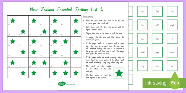 New Zealand Essential Spelling List 4 Board Game - spelling, literacy, list 4, essential spelling, nz, new zealand
