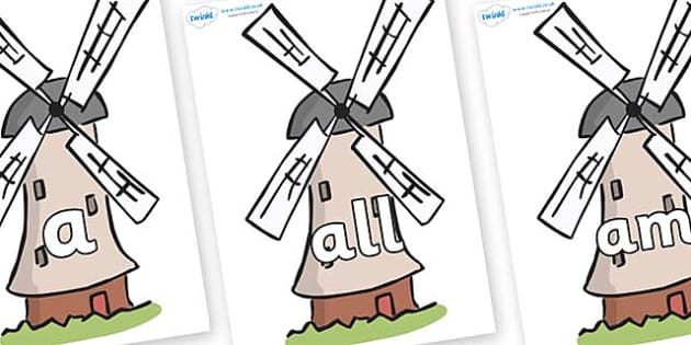 Foundation Stage 2 Keywords on Windmills - FS2, CLL, keywords, Communication language and literacy,  Display, Key words, high frequency words, foundation stage literacy, DfES Letters and Sounds, Letters and Sounds, spelling
