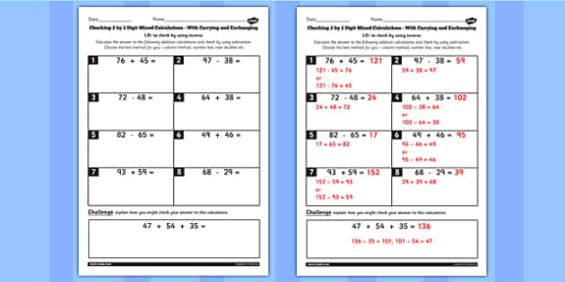 Y3 Inverse Check 2 Digit Mixed Carry Exchange Choice Method Sheet