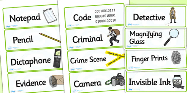 Detective Role Play Labels - police, detectives, roleplay, label