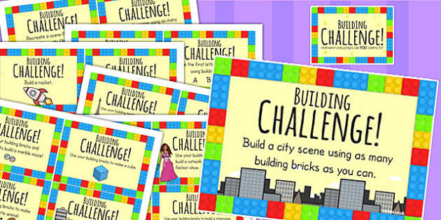 Building Block Challenge Cards - challenges, games, building blocks, toys