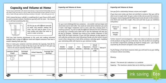 Capacity and Volume at Home Activity Sheet - capacity, volume, home, worksheet