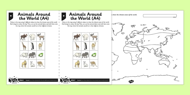 Mapping World Climates Activity Sheet, worksheet