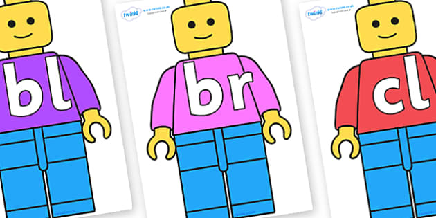 Initial Letter Blends on Building Brick Man - Initial Letters, initial letter, letter blend, letter blends, consonant, consonants, digraph, trigraph, literacy, alphabet, letters, foundation stage literacy