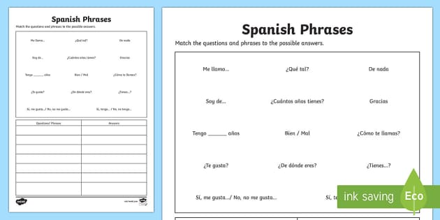 Spanish Common Questions and Answers Matching Activity Sheet - Spanish, KS2, activity, sheet, common, phrases, questions, matching, worksheet